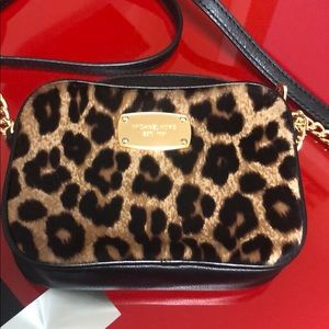 Michael Kors Hamilton leopard hair calf mini bag